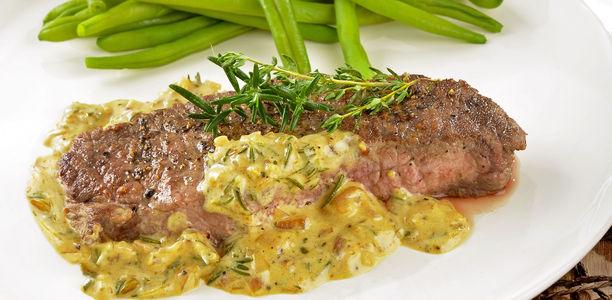 rezept steak mit dijon senfsauce und gr nen bohnen. Black Bedroom Furniture Sets. Home Design Ideas